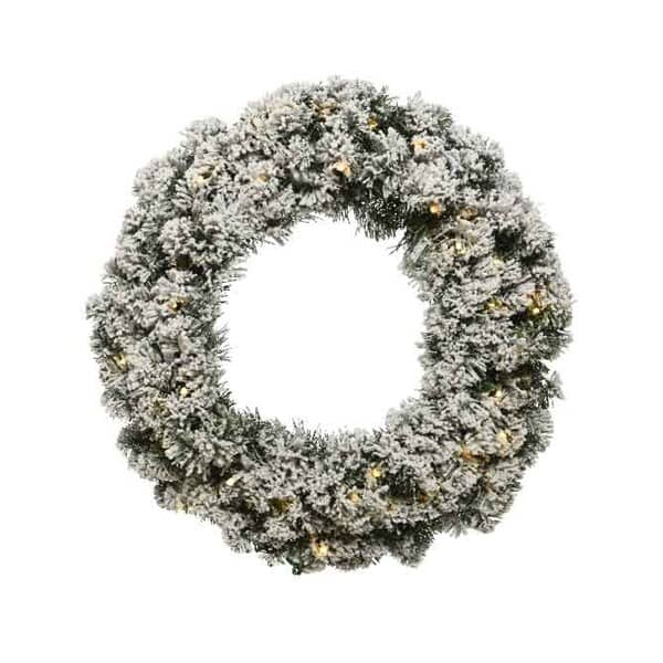 Kaemingk Snowy Imperial Wreath Prelit