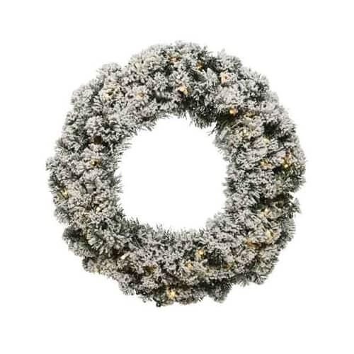 Kaemingk Snowy Imperial Wreath Prelit