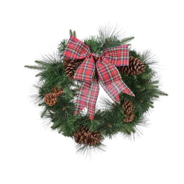 Kaemingk Everlands Mix Needle Wreath with Tartan Bow