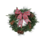 Kaemingk Everlands Mix Needle Wreath with Tartan Bow