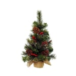 Kaemingk Everlands Snowy Mini Tree Berries Pine Cones Green/White 45cm