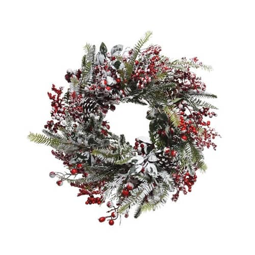 Kaemingk Everlands 40cm Wreath Frost And Red Berry