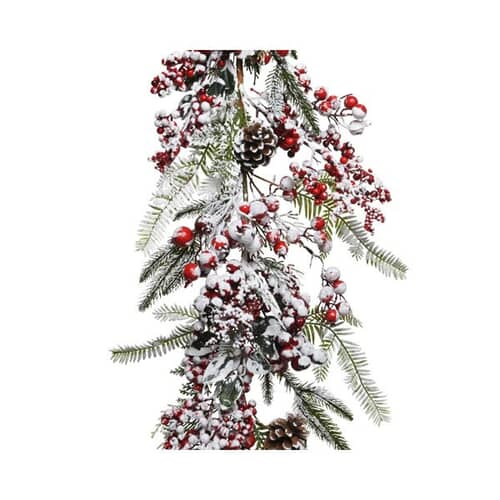 Kaemingk 175cm Garland Frost and Red Berry