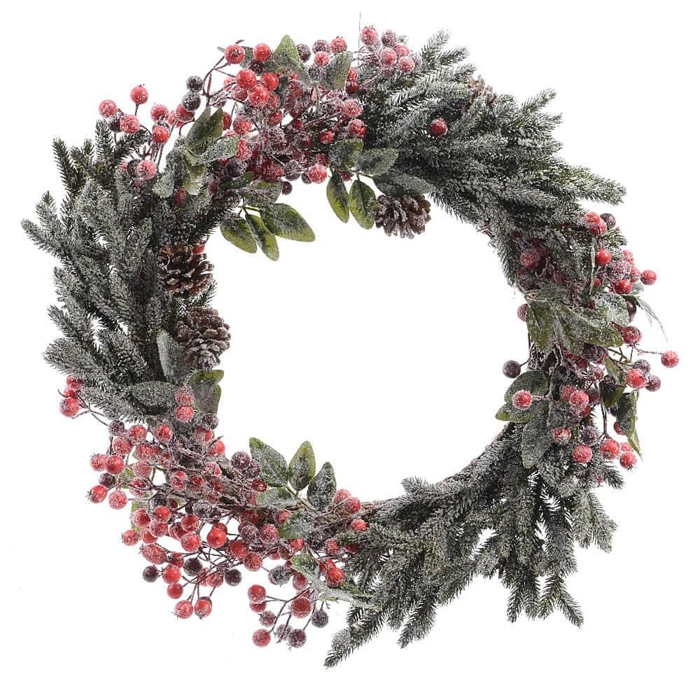 Kaemingk Everlands 40cm Berry/Snow Wreath