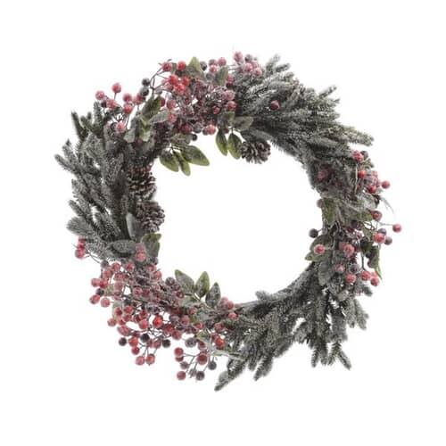 Kaemingk 60cm Deco Wreath Berries/Snow