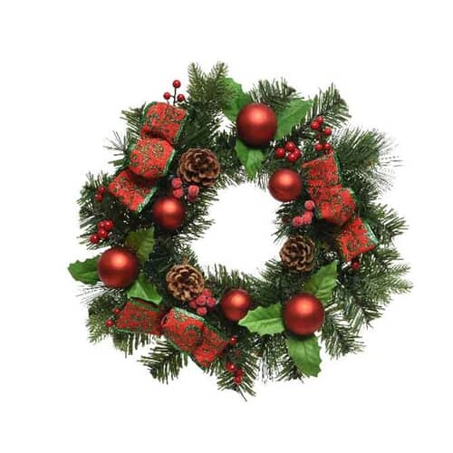 Kaemingk Deco Wreath Bauble Ribbon 30cm