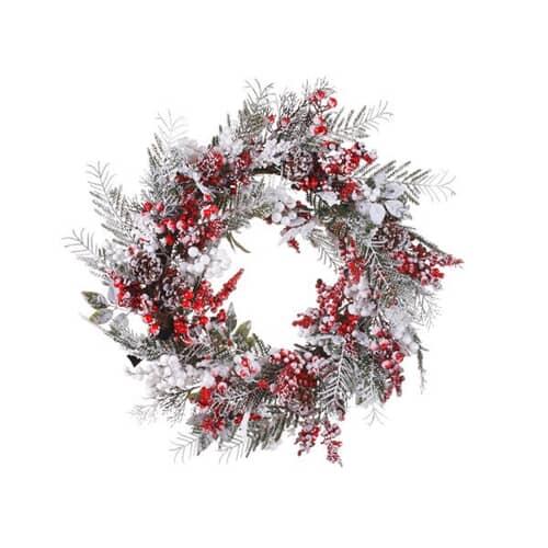 Kaemingk Everlands Deco Wreath Mix Berries Snow