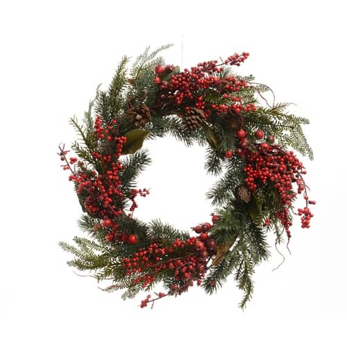 Deorated Wreath With Berries Pinecones and Leaves