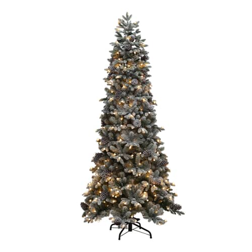 Puleo Slim Snowy Yukon Pine Flocked with Warm White LED 195cm